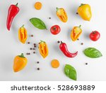 fresh vegetables on white... | Shutterstock . vector #528693889
