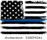 american flag with thin blue... | Shutterstock . vector #528694261