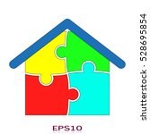puzzle  house  icon  vector... | Shutterstock .eps vector #528695854