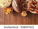 table full of tasty snacks and... | Shutterstock . vector #528697621
