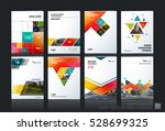 Business vector set. Brochure template layout, cover design annual report, magazine, flyer in A4 with colourful geometric shapes, squares, triangles, arrows for IT, business, building. Abstract | Shutterstock vector #528699325