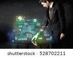 businessman touching... | Shutterstock . vector #528702211