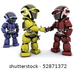 3d Render of robots making a deal - stock photo