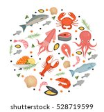 seafood icons set in round... | Shutterstock .eps vector #528719599
