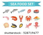 seafood icons set vector  flat...   Shutterstock .eps vector #528719677