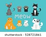 cartoon character  set cat and... | Shutterstock .eps vector #528721861