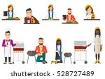 man cutting vegetables for... | Shutterstock .eps vector #528727489