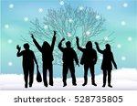 group of people in santa caps. | Shutterstock .eps vector #528735805
