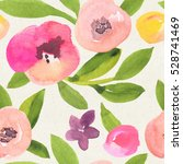 seamless watercolor floral... | Shutterstock . vector #528741469