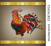 rooster with golden ribbon...   Shutterstock .eps vector #528742921