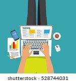 online news  illustration. flat ... | Shutterstock . vector #528744031