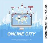online city  people communicate ... | Shutterstock .eps vector #528756205