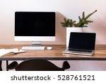 modern workspace. computer ... | Shutterstock . vector #528761521