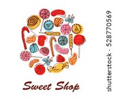 candy shop label. vector frame... | Shutterstock .eps vector #528770569