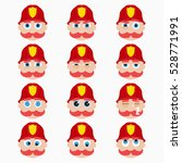 set of cute firefighter... | Shutterstock .eps vector #528771991
