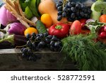 fresh organic produce in wood... | Shutterstock . vector #528772591