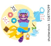 cheshire cat in a hat and a... | Shutterstock .eps vector #528779299