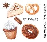watercolor delicious cakes set. ... | Shutterstock . vector #528800809