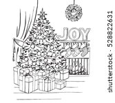 coloring page christmas tree...   Shutterstock .eps vector #528822631