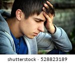 sorrowful young man portrait on ... | Shutterstock . vector #528823189