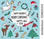vector set of christmas doodle... | Shutterstock .eps vector #528826141
