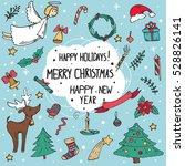 vector set of christmas doodle... | Shutterstock .eps vector #528826141