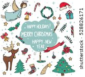 vector set of christmas doodle... | Shutterstock .eps vector #528826171