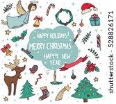 vector set of christmas doodle... | Shutterstock .eps vector #528826171
