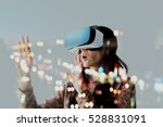 Woman with glasses of virtual...