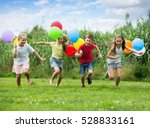 cheerful smiling boy and girls... | Shutterstock . vector #528833161