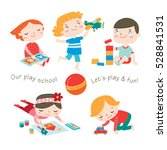 kids are playing games at... | Shutterstock .eps vector #528841531