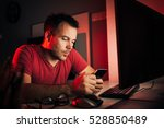 man wearing a red shirt working ... | Shutterstock . vector #528850489