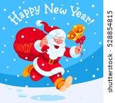running joyful santa claus with ... | Shutterstock .eps vector #528854815