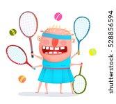 funny freaky tennis player... | Shutterstock .eps vector #528856594