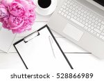 office desk table with computer ... | Shutterstock . vector #528866989