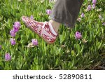 a woman's foot in sneakers... | Shutterstock . vector #52890811