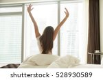 young woman outstretching her... | Shutterstock . vector #528930589