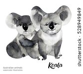 australian animals watercolor... | Shutterstock . vector #528949849