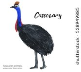 australian animals watercolor... | Shutterstock . vector #528949885