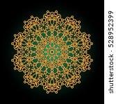 Colorful Mandala. Golden Flowe...
