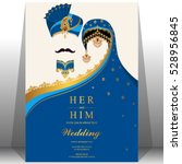 indian wedding card  gold and... | Shutterstock .eps vector #528956845
