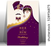 indian wedding card  gold and... | Shutterstock .eps vector #528956875