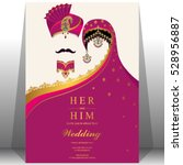 indian wedding card  gold and... | Shutterstock .eps vector #528956887