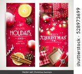 vector set of two christmas... | Shutterstock .eps vector #528973699