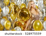 portrait of blond young woman... | Shutterstock . vector #528975559