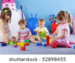 group of kids playing with... | Shutterstock . vector #52898455
