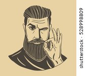 hipster.a bearded man shows... | Shutterstock .eps vector #528998809