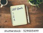top view 2017 goals list with...   Shutterstock . vector #529005499
