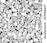 doodle foxes seamless pattern.... | Shutterstock .eps vector #529006657