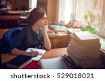 serious woman thinking in... | Shutterstock . vector #529018021
